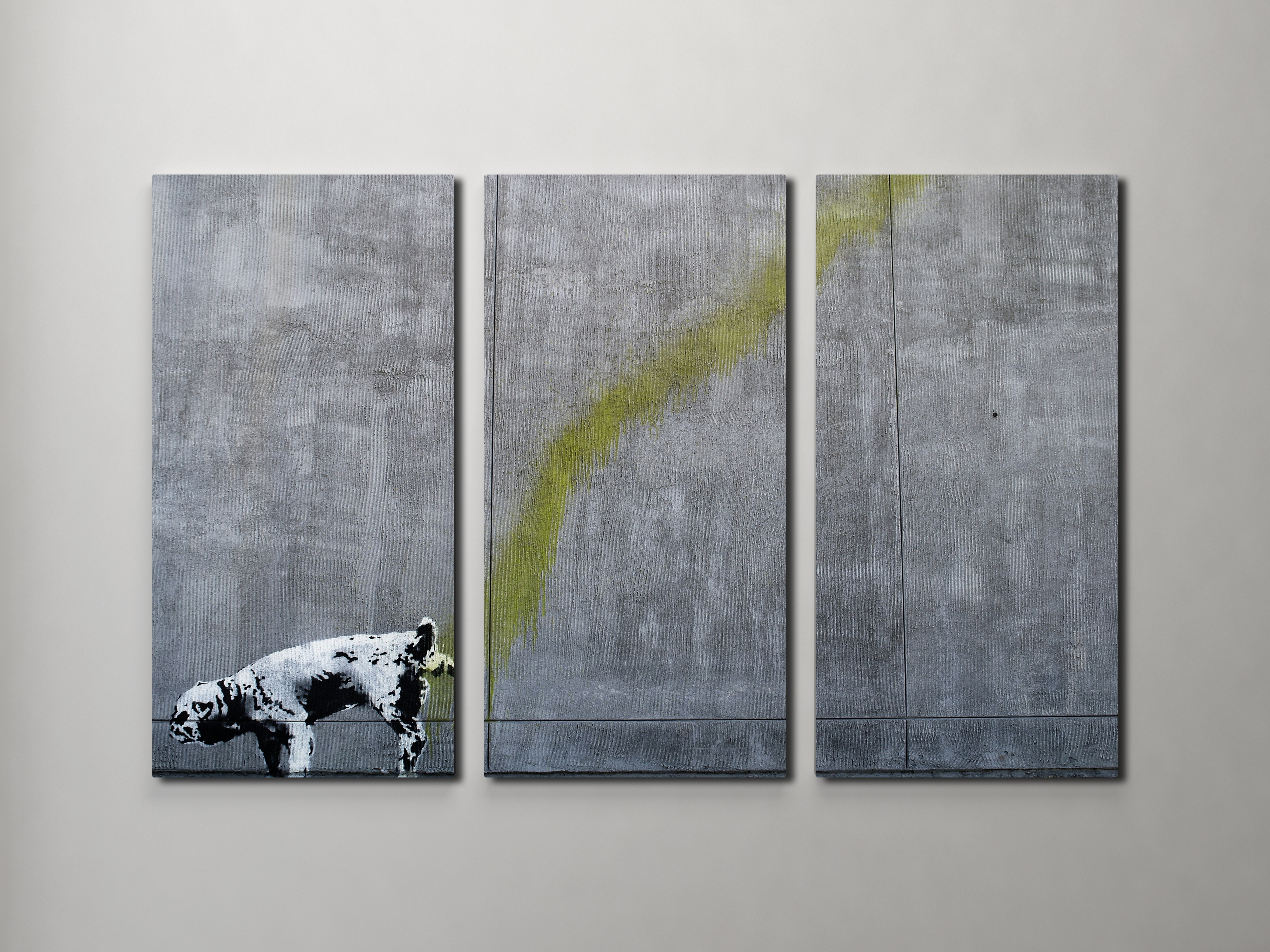 Most Recently Released Triptych Wall Art With Regard To Banksy Pissing Dog Triptych Canvas Wall Art (View 4 of 15)