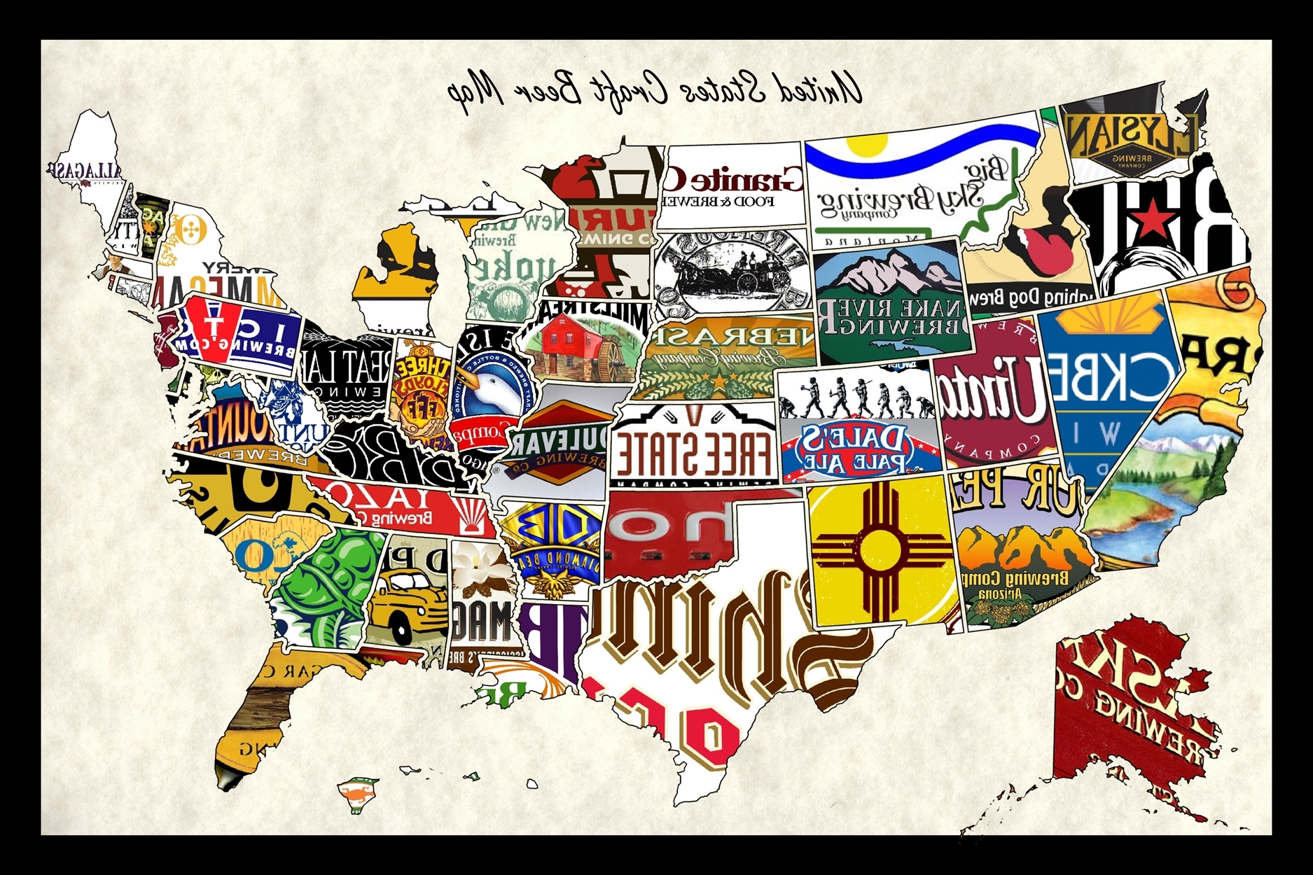 Most Recently Released United States Craft Beer Wall Map Art Poster Of Breweries Regarding Usa Map Wall Art (View 7 of 15)