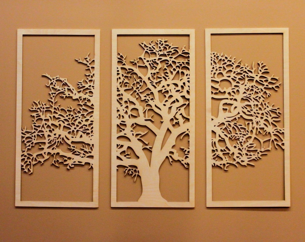 Most Recently Released Wall Art Panels With Tree Of Life 3D Maple – 3 Panel Wood Wall Art – Beautiful Living (View 9 of 15)