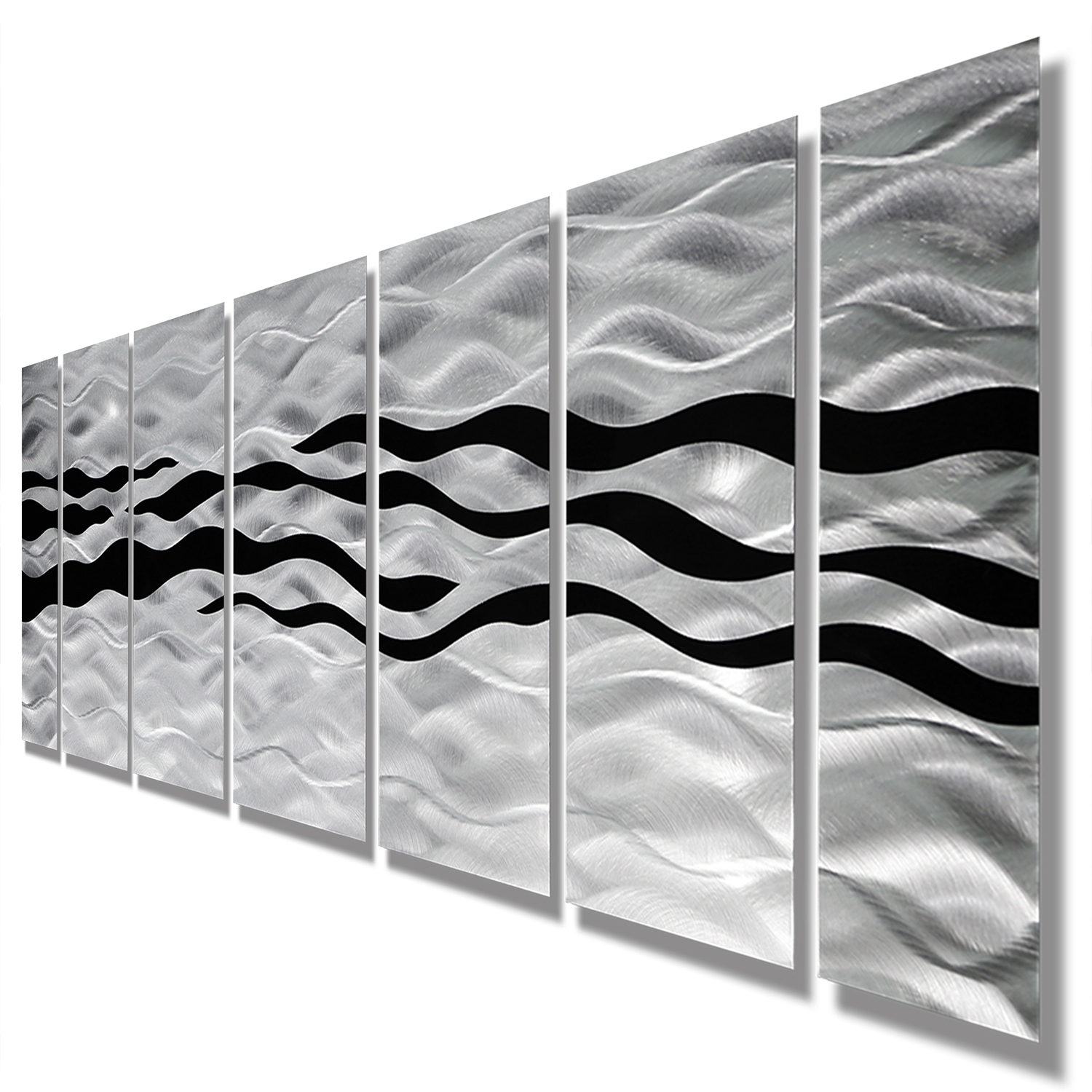Most Recently Released Wild Ways – Silver And Black Modern Metallic Wall Hanging Pertaining To Metallic Wall Art (View 9 of 15)