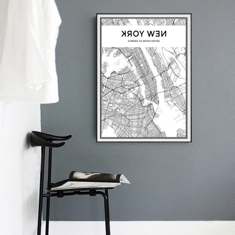 Most Up To Date 2018 Minimalist New York City Map Canvas Painting Black And White Throughout New York City Map Wall Art (View 6 of 15)