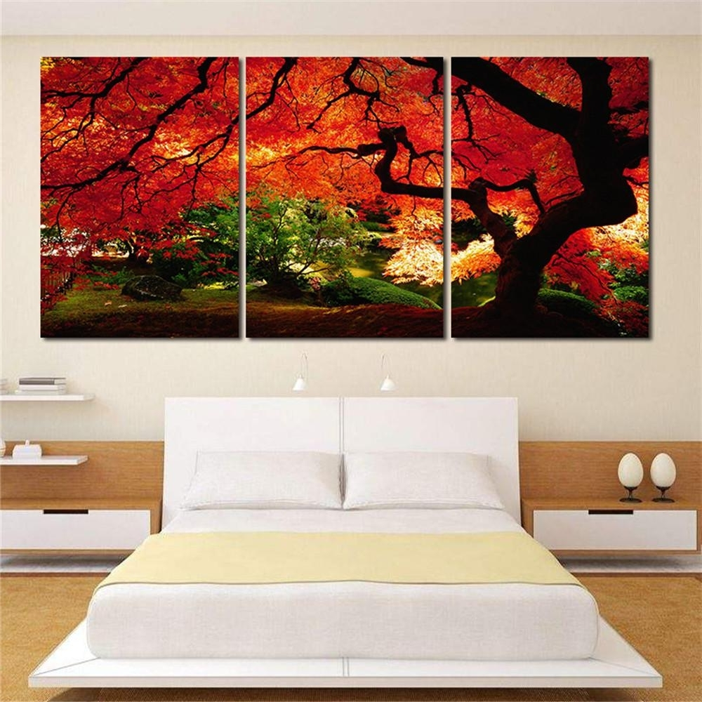 Most Up To Date 2018 Red Maple Trees 3 Panel Art Giclee Canvas Prints Artwork Modern Intended For 3 Piece Canvas Wall Art (View 14 of 15)