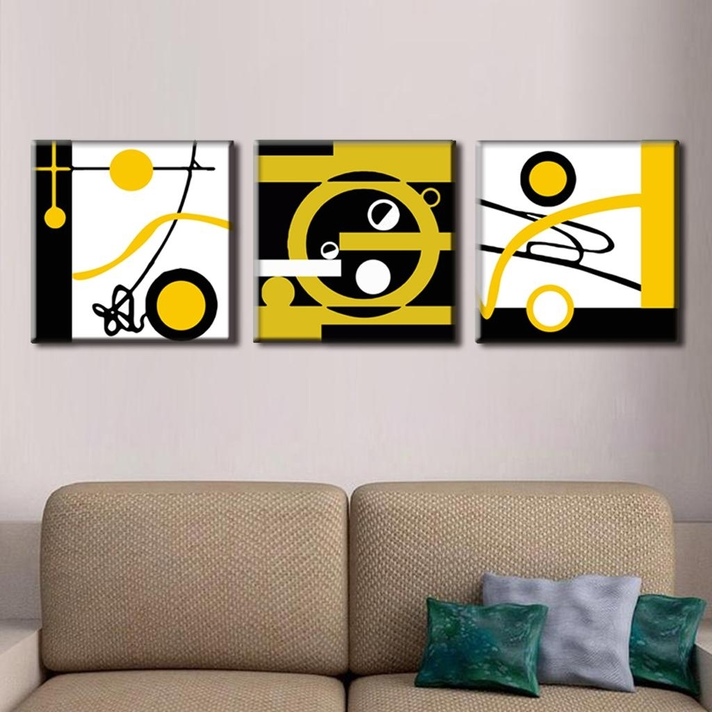 Most Up To Date 3 Pcs/set Abstract Canvas Wall Art Blocks Of Color And Circle Canvas For Circle Wall Art (View 12 of 15)
