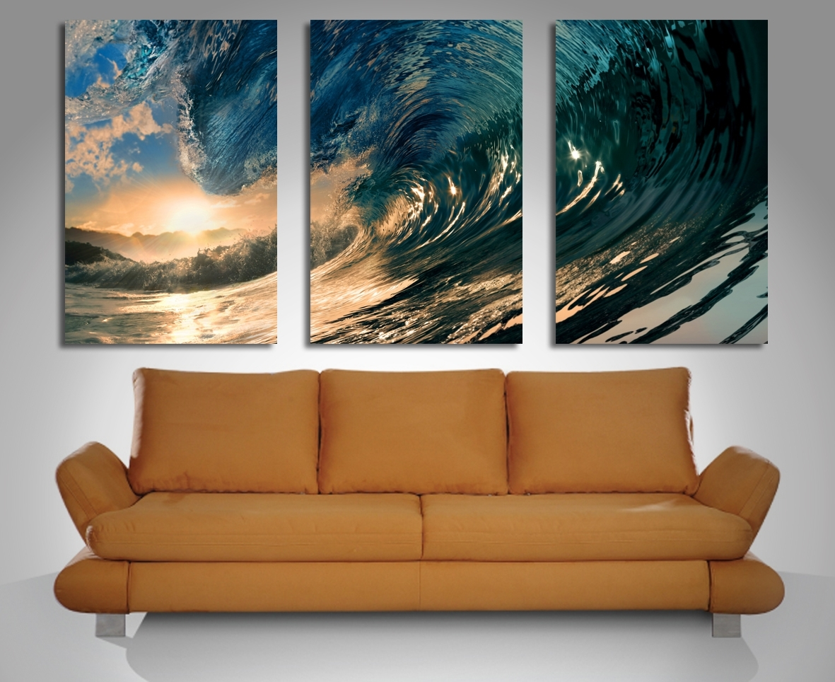 Most Up To Date 3 Piece Wall Art Within Crystal Wave Triptych 3 Panel Wall Art (View 2 of 15)