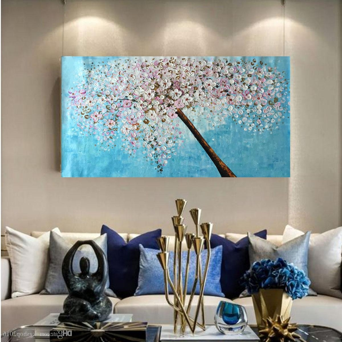 Most Up To Date Acrylic Wall Art Intended For 2018 Kgtech Thick Textured Acrylic Paintings 3D Floral Wall Art (View 12 of 15)
