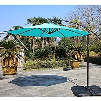 Most Up To Date Amazon : Naturefun 10Ft Offset Patio Umbrella Outdoor Turquoise Throughout 10 Ft Patio Umbrellas (View 13 of 15)