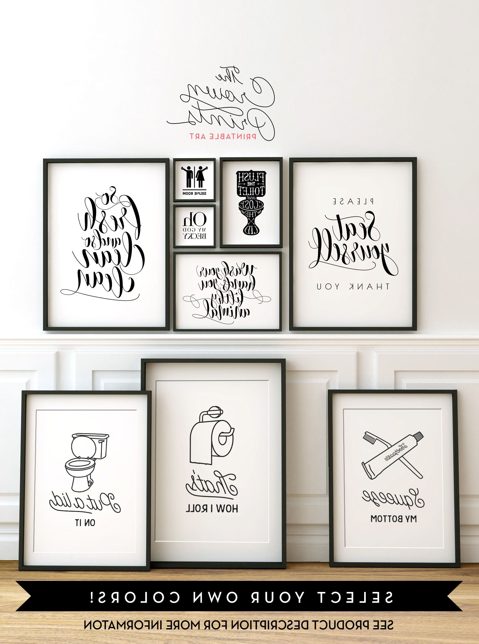Most Up-to-Date Bathroom Wall Art Decors with regard to Printable Bathroom Wall Art From The Crown Prints On Etsy - Lots Of