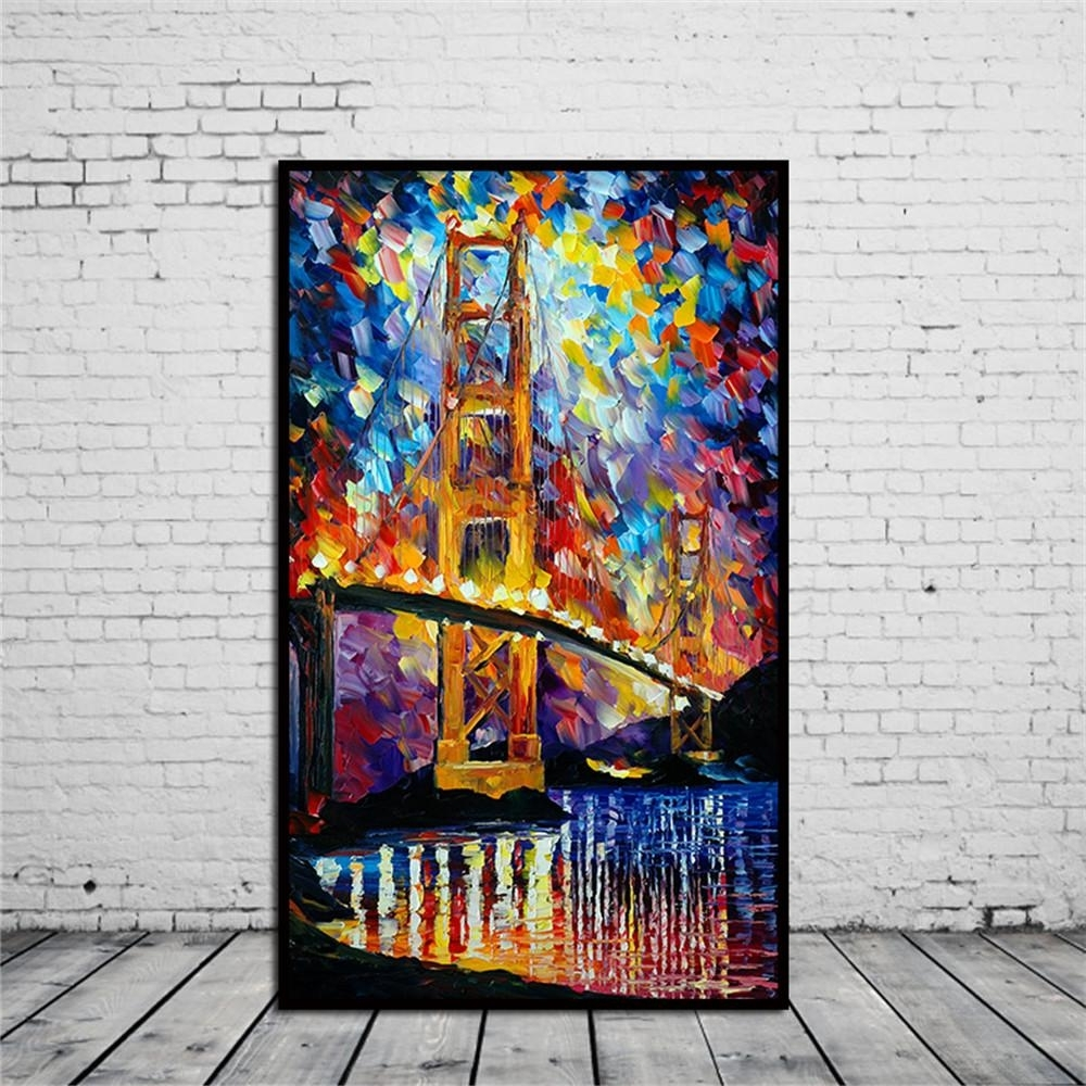 Most Up To Date Best Frameless Huge Wall Art Oil Painting On Canvas Golden Gate Within Huge Wall Art (View 5 of 15)