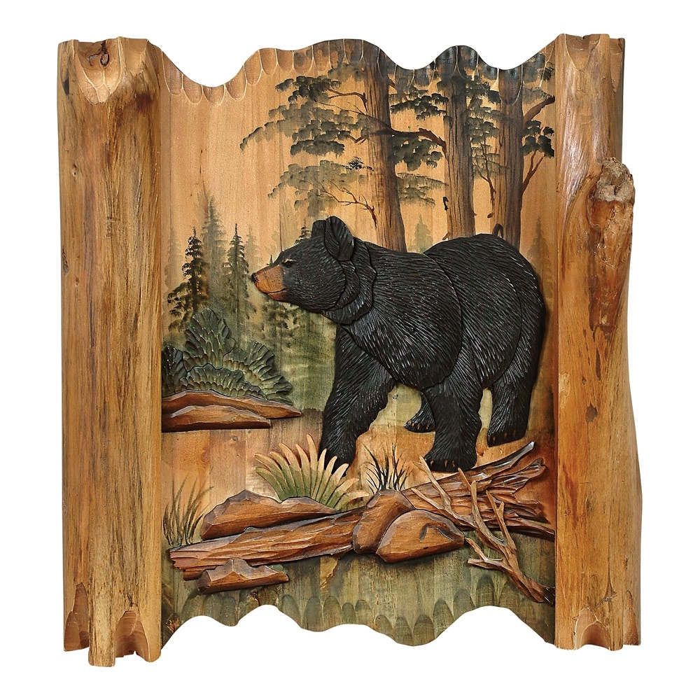 Most Up To Date Black Bear Forest Carved Wood Lodge Wall Art – Lodge Decor – Walmart With Regard To Carved Wood Wall Art (View 9 of 15)