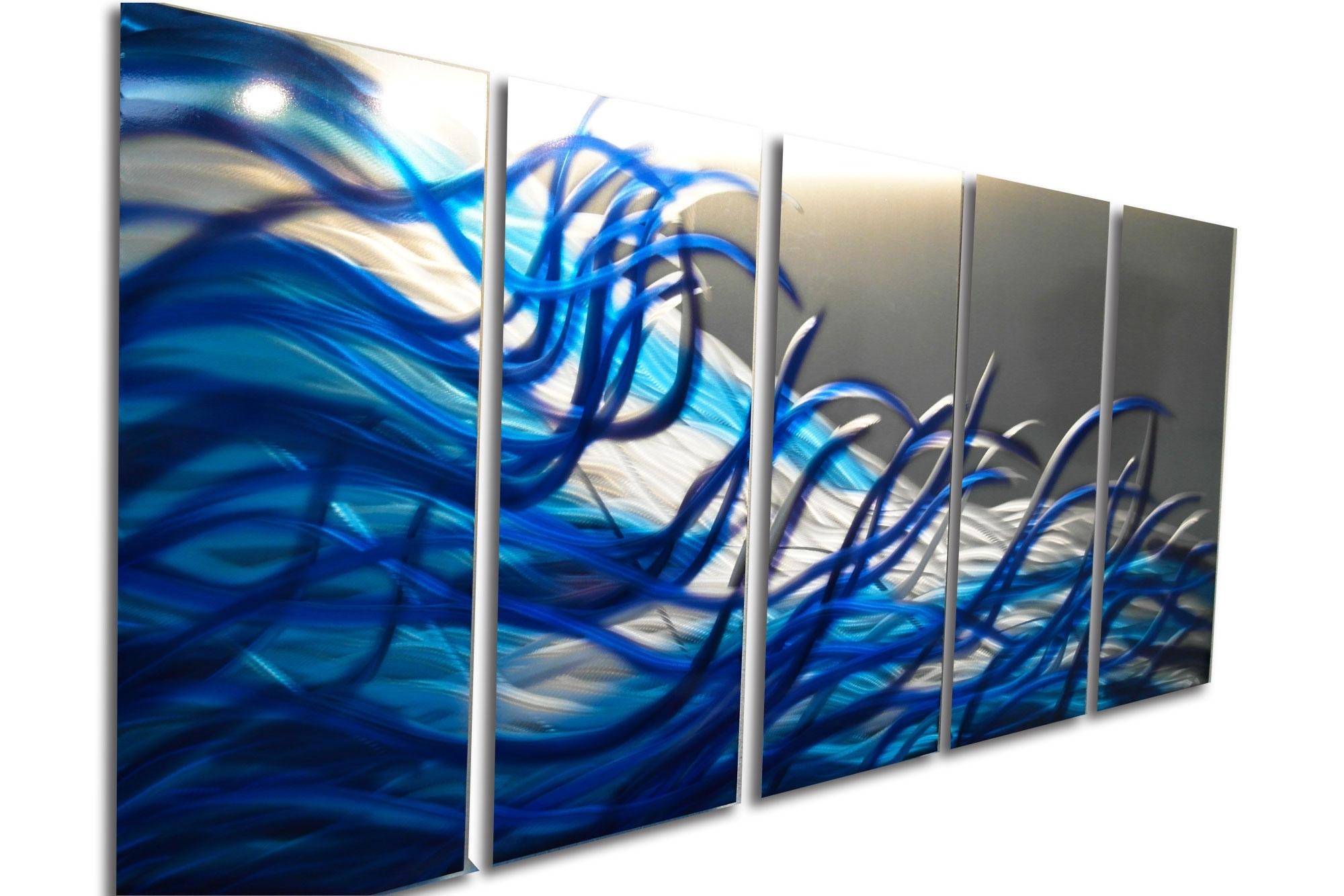Most Up To Date Blue Wall Art Inside Resonance Blue 36X79  Metal Wall Art Contemporary Modern Decor (View 2 of 15)
