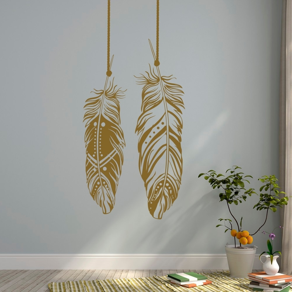 Most Up To Date Bohemian Wall Art With Regard To Feathers Wall Decals Tribal Wall Art Boho Bohemian Wall Decor Living (View 9 of 15)