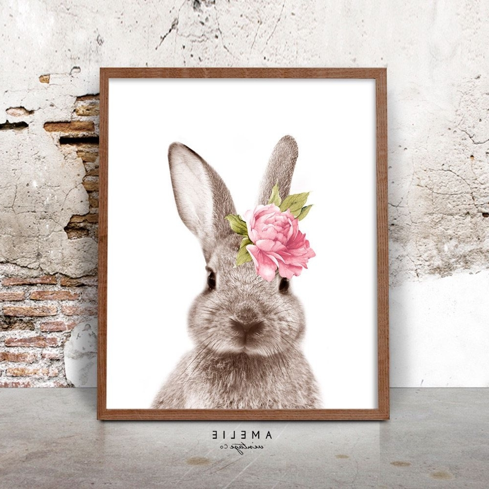 Most Up To Date Bunny Rabbit Print, Nursery Printable Wall Art, Woodland Decor Inside Bunny Wall Art (View 6 of 15)