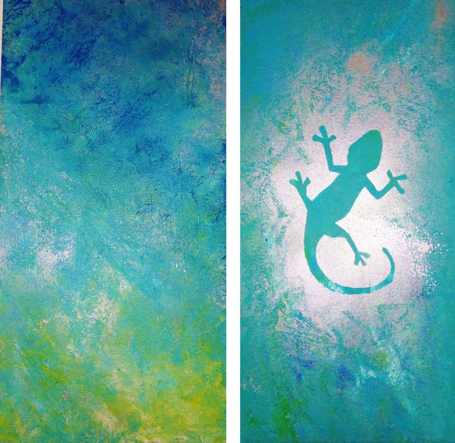 Most Up To Date Gecko Canvas Wall Art For Canvas Wall Art – Turquoise Gecko — Original Unique Abstract Acrylic (View 13 of 15)