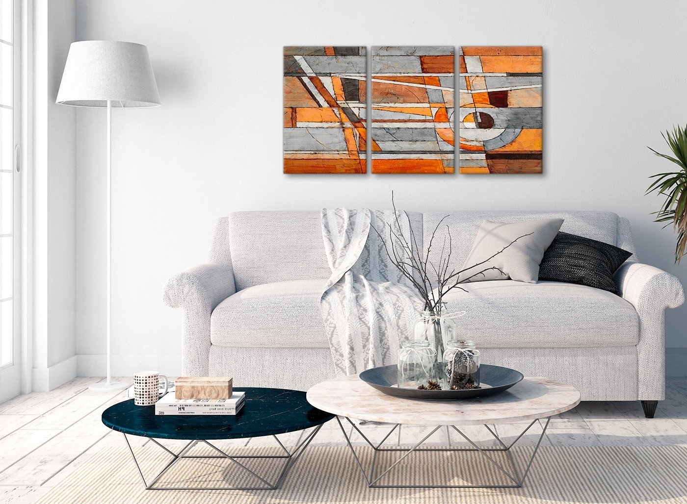 Most Up To Date Gray Canvas Wall Art With 3 Piece Burnt Orange Grey Painting Office Canvas Wall Art Decor (View 9 of 15)