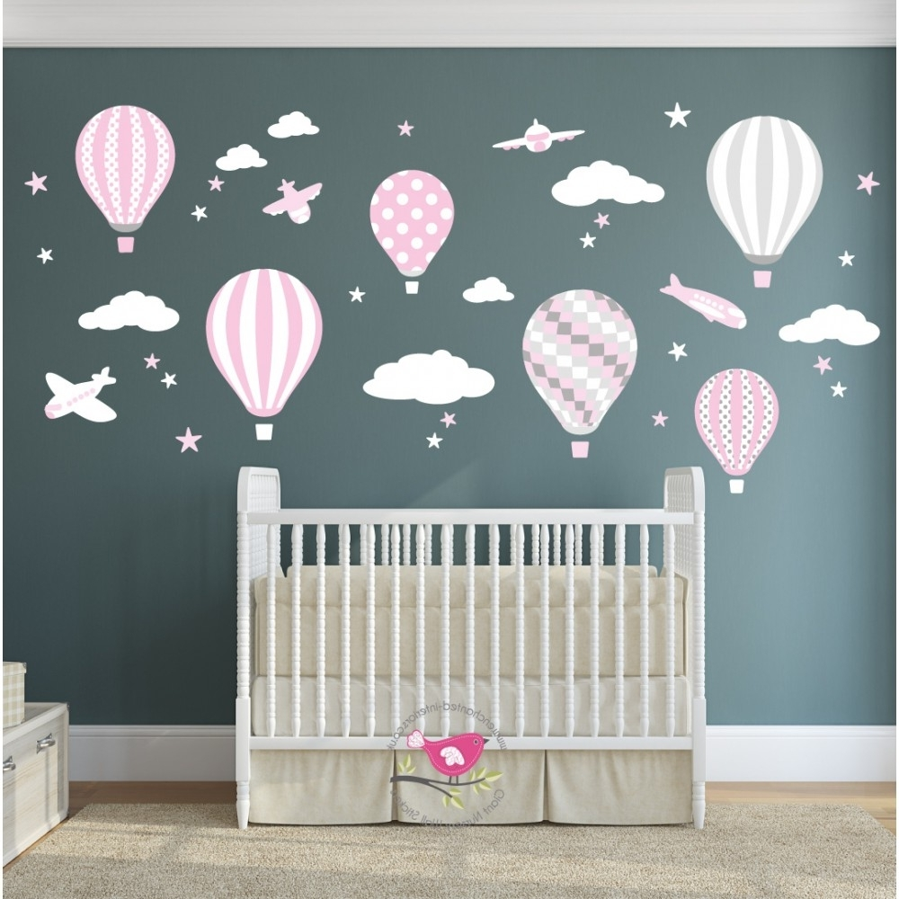 Most Up To Date Hot Air Balloon & Jets Wall Stickers Baby Pink, Grey, White With Baby Wall Art (View 11 of 15)