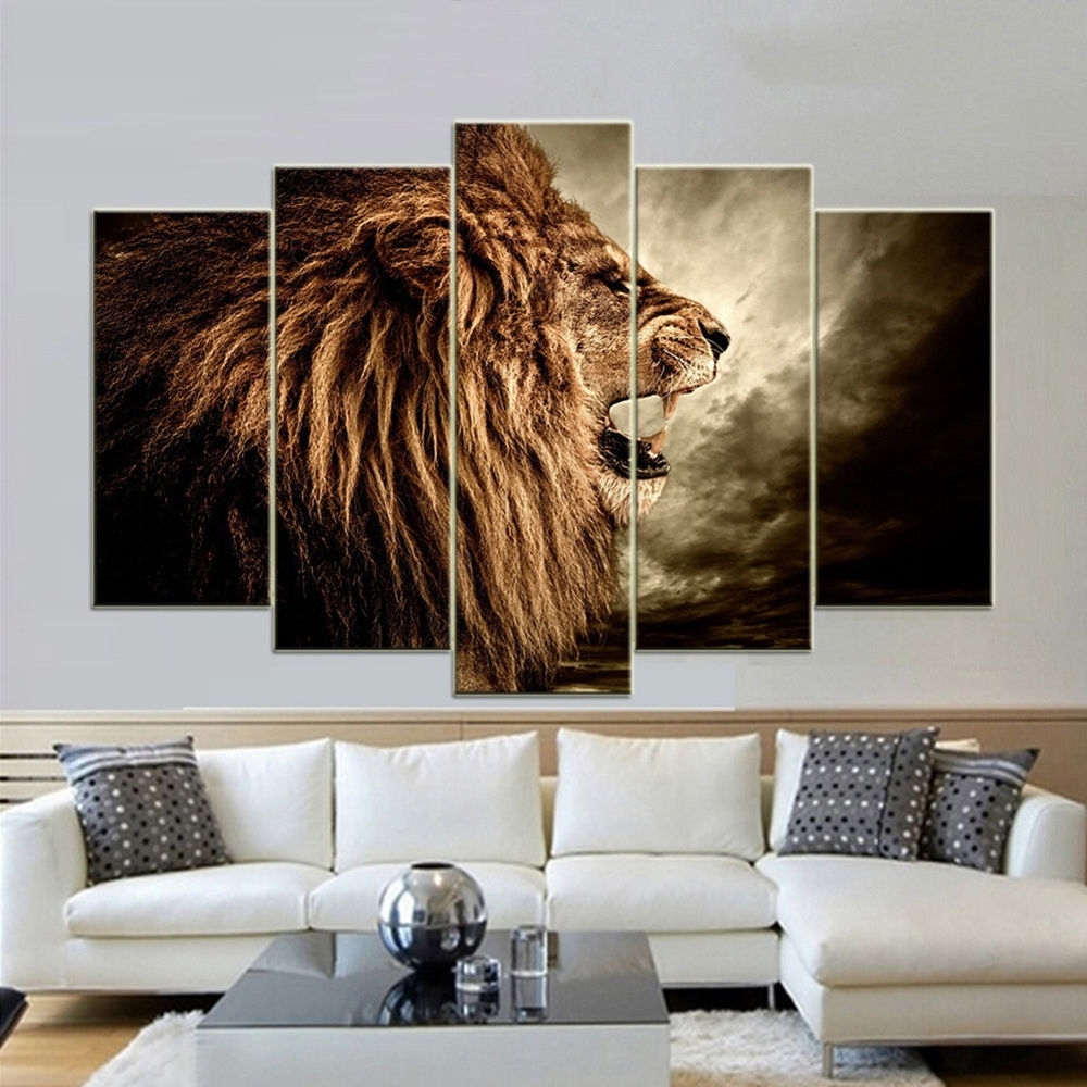 Most Up To Date Ik  5 Panels Lion Canvas Print Wall Art Painting Unframed Picture With Regard To Lion Wall Art (View 13 of 15)