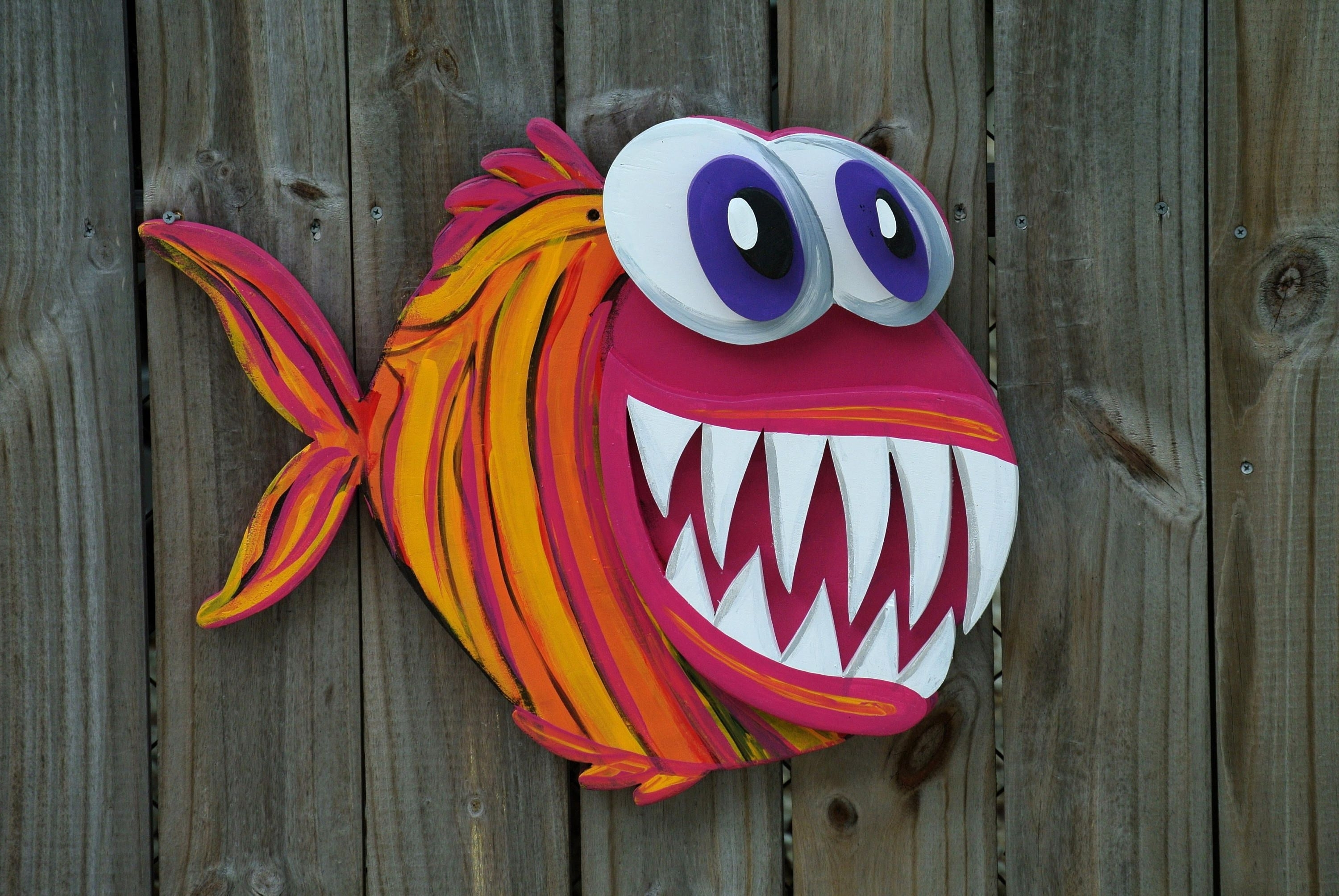 Most Up To Date Large Outdoor Wall Art Intended For Valentines Gift Idea 3D Angler Fish Wood Sign, Large Outdoor Wall (View 10 of 15)