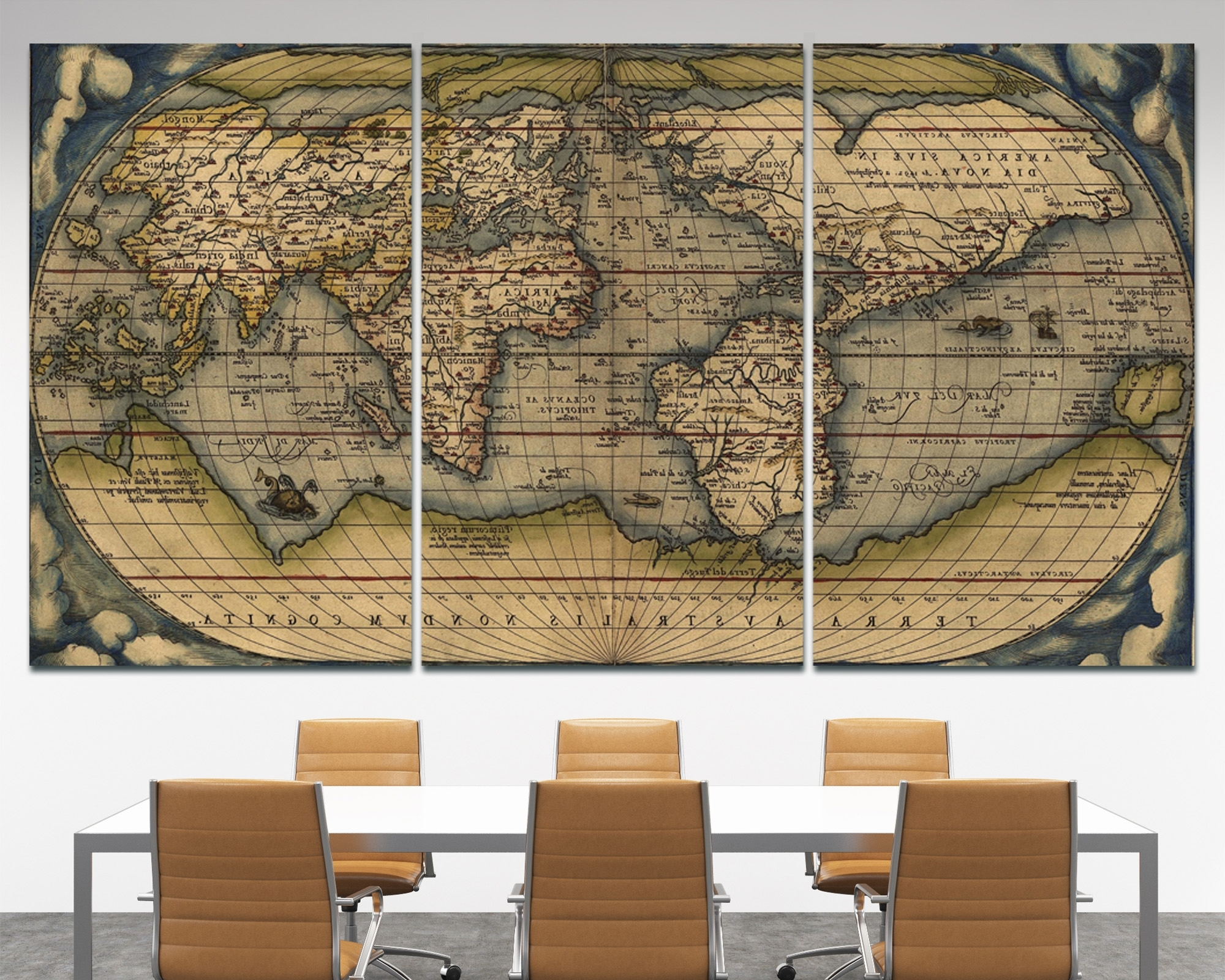 Most Up To Date Large Vintage Wall Art Old World Map At Texelprintart (View 15 of 15)