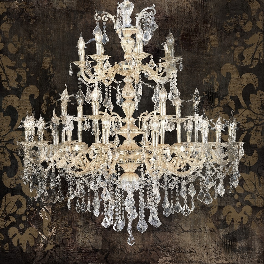 Most Up To Date Modern Still Life Painting Canvas Art Crystal Chandelier Pattern Inside Chandelier Wall Art (View 9 of 15)