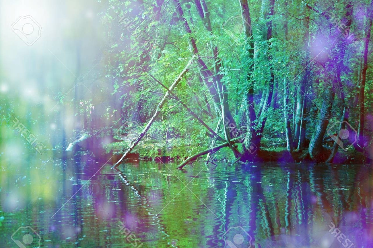 Most Up To Date Nature Wall Art For Romantic Riverside Nature Wall Art – Beautiful Purple And Vivid (View 14 of 15)