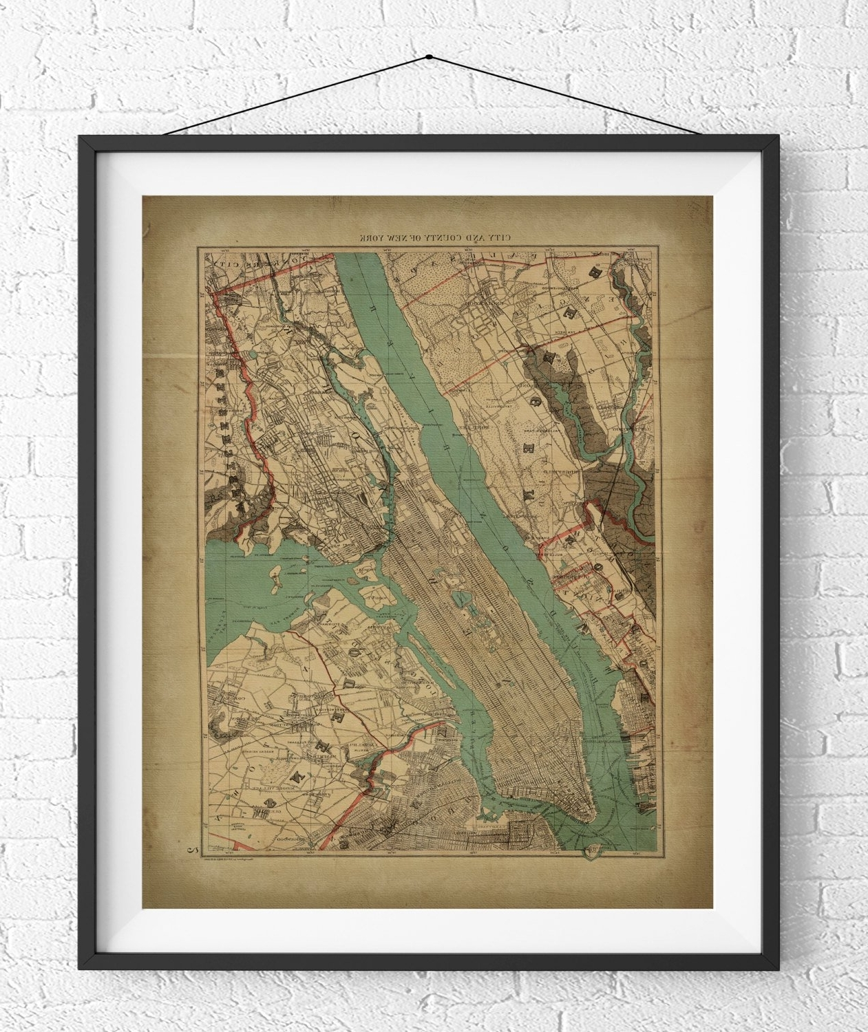 Most Up To Date New York City Map Print, Vintage Map Art, Antique Map, Nyc Map, New In New York City Map Wall Art (View 7 of 15)