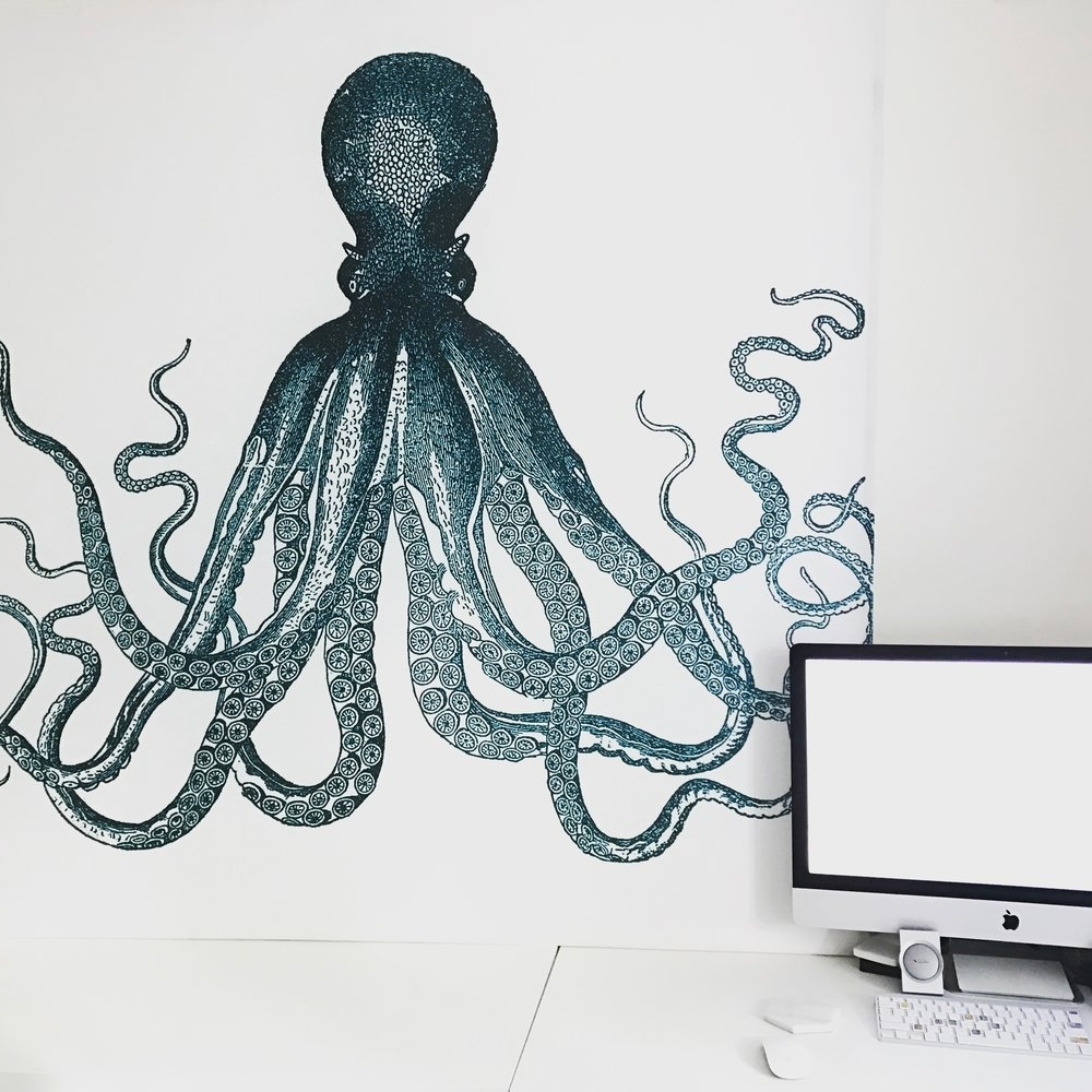 Most Up To Date Octopus Wall Art Within Diy Octopus Shower Curtain Wall Art — Tori Kraut (View 15 of 15)