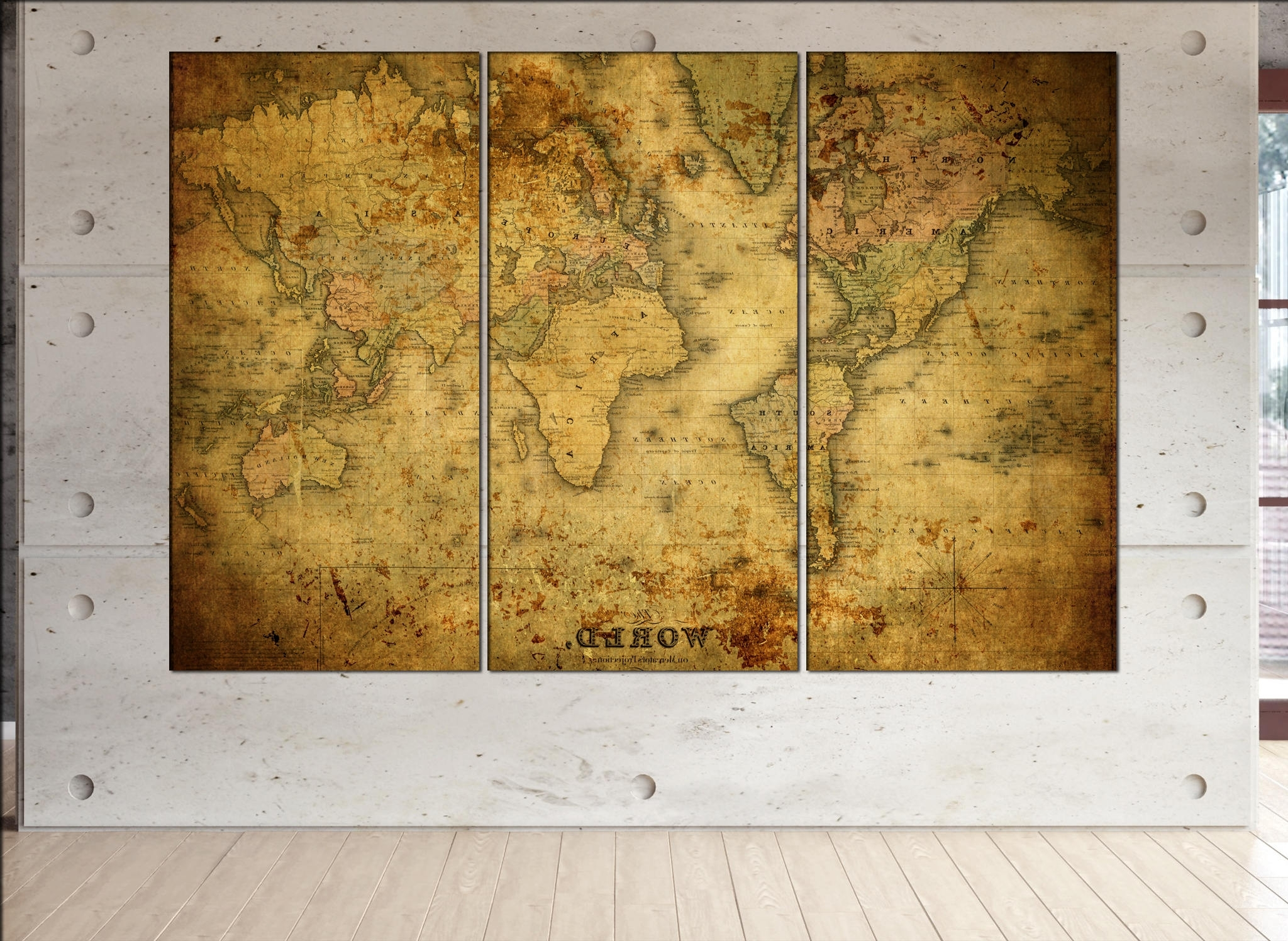 Most Up To Date Old World Map Canvas Wall Art Print On Canvas Wall Art Old World Map In Old World Map Wall Art (View 7 of 15)