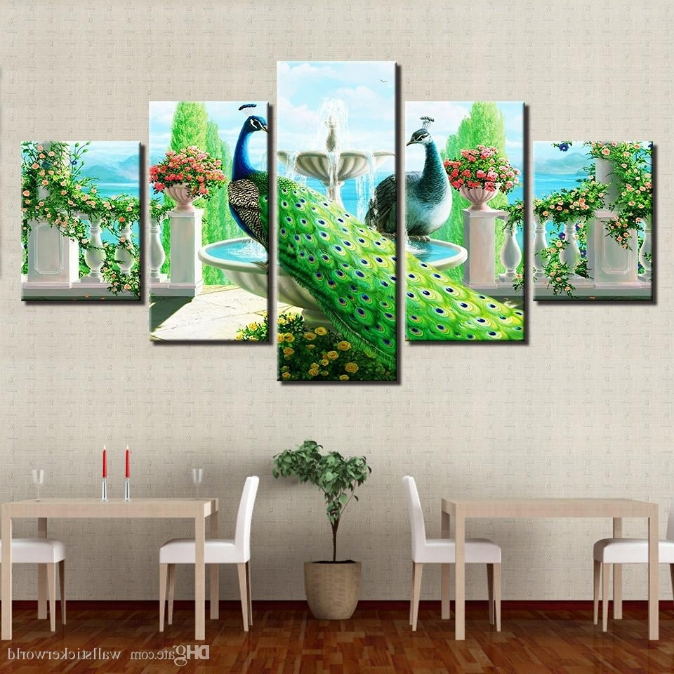 Most Up To Date Online Cheap Canvas Poster Modular Home Decor Hd Printed Peacock For Cheap Wall Art (View 14 of 15)