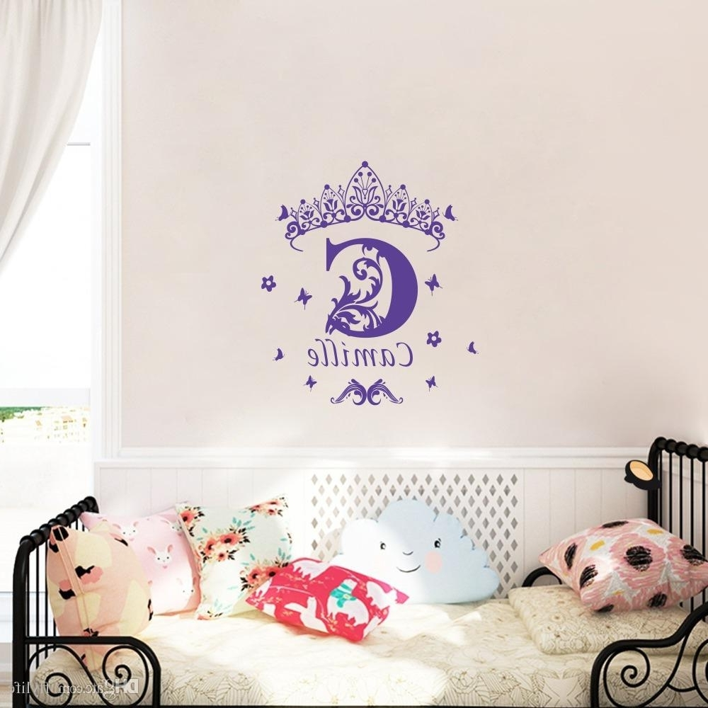 Most Up To Date Personalized Wall Art Within Custom Girls Name Vinyl Wall Sticker Crown Wall Art Decal (View 8 of 15)
