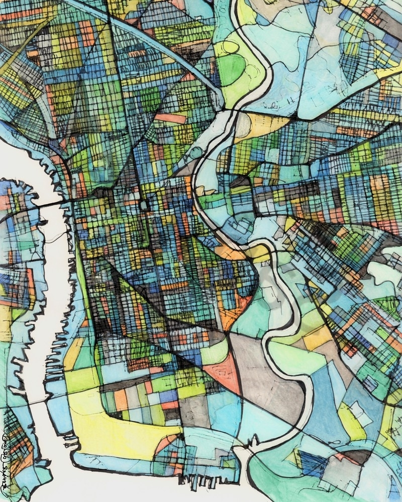 Most Up To Date Philadelphia Map Wall Art Intended For City Map For Sale Online  Abstract Art Print Of Philadelphia Pa (View 5 of 15)
