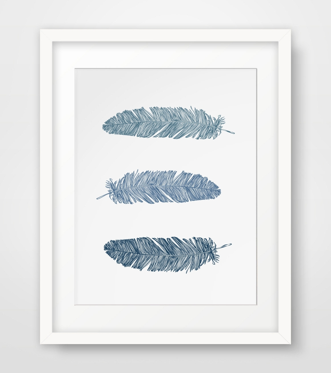 Most Up To Date Popular Wall Art For Wall Art Ideas Design : Navy Blue Feather Wall Art Print Dark (View 6 of 15)