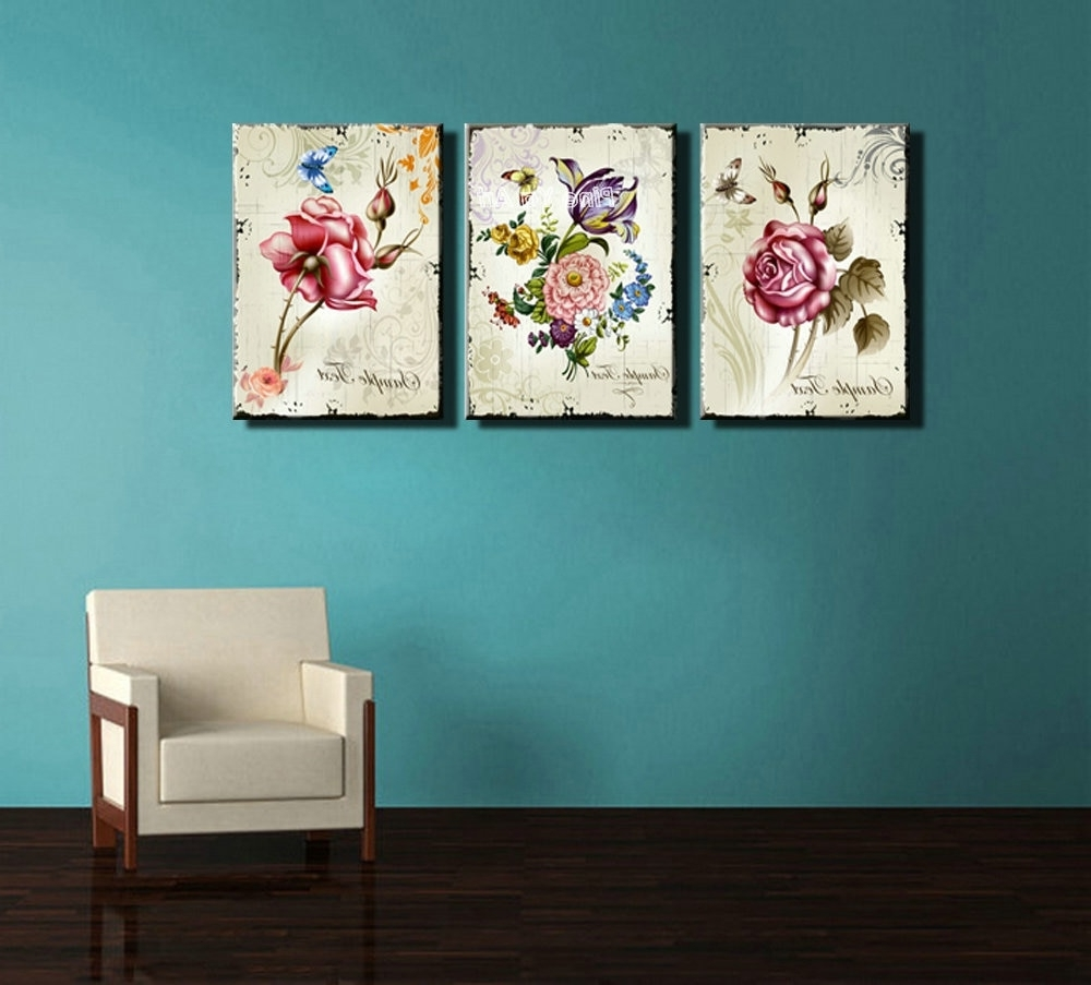 Most Up To Date Triptych Cheap Modern Canvas Prints Rose Drawing Picture Wall Art Intended For Inexpensive Wall Art (View 11 of 15)
