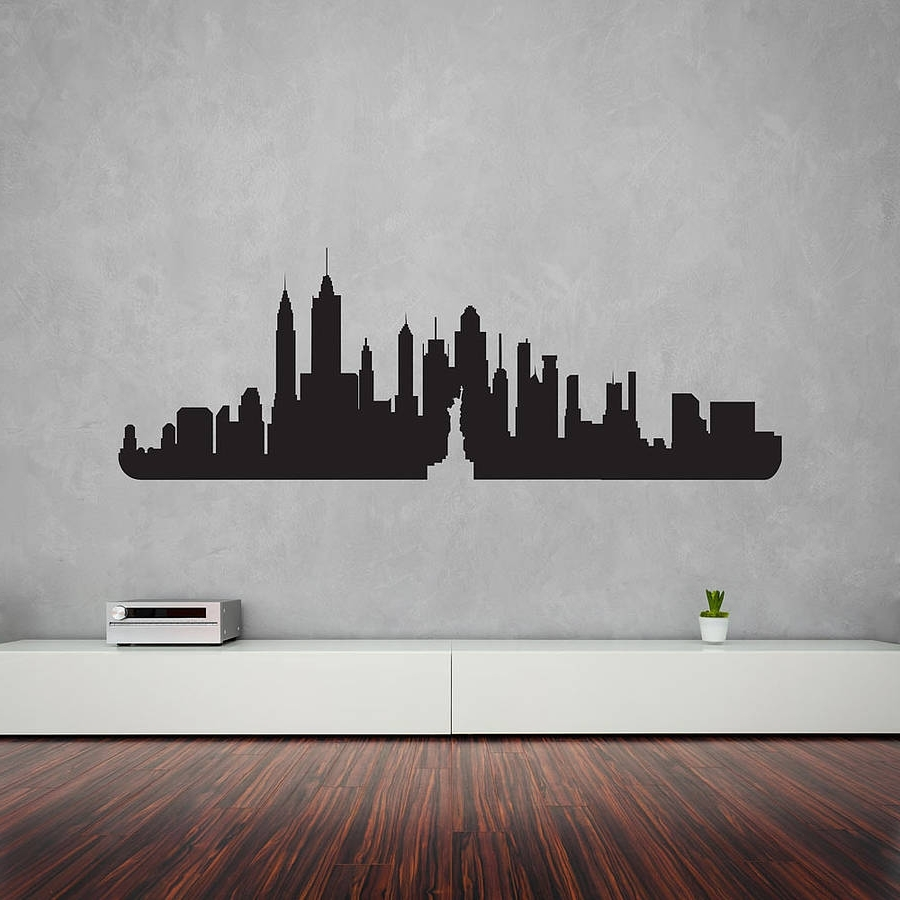 Most Up To Date Vinyl Wall Art Throughout New York City Skyline Wall Art Decalvinyl Revolution (View 6 of 15)