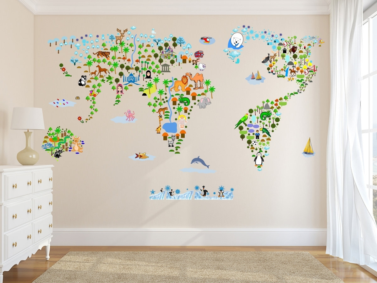 Most Up To Date Wall Art Stickers World Map Regarding Cultural World Map Wall Decal Reusable Vinyl Fabric (View 6 of 15)