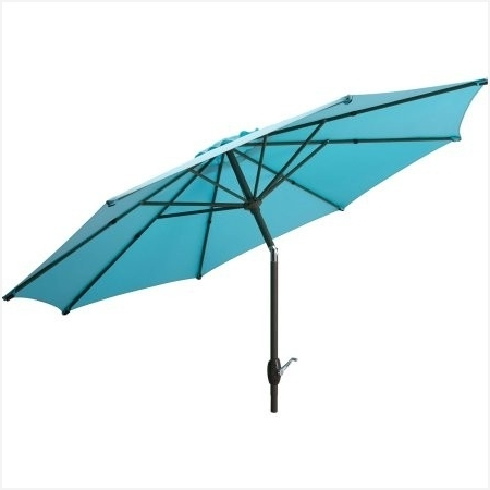 Most Up To Date Walmart Patio Umbrellas Intended For Walmart Patio Umbrellas » Mainstays 9 Market Umbrella Turquoise (View 9 of 15)