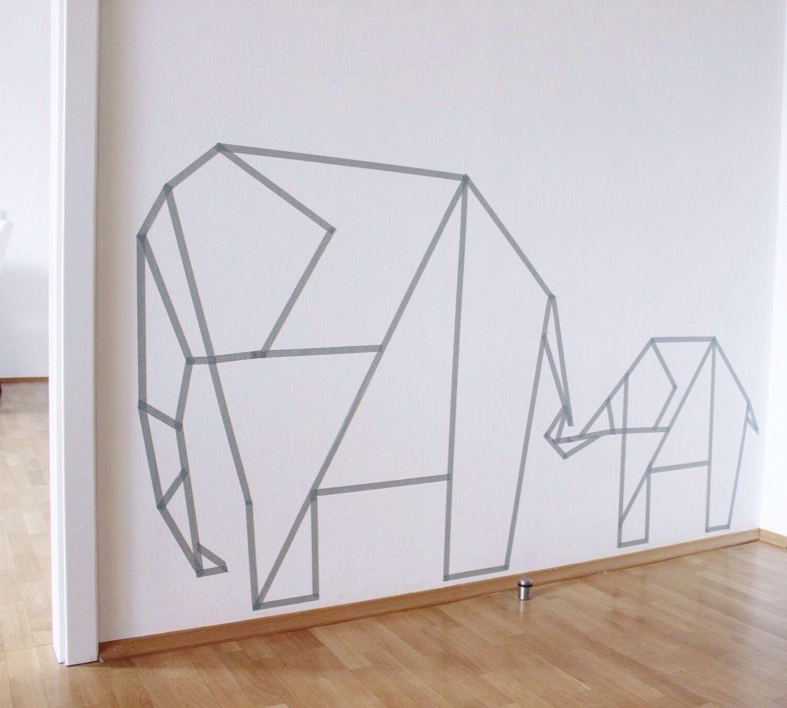 Most Up To Date Washi Tape Wall Art Regarding Washi Tape Wall Art Elephants (View 7 of 15)