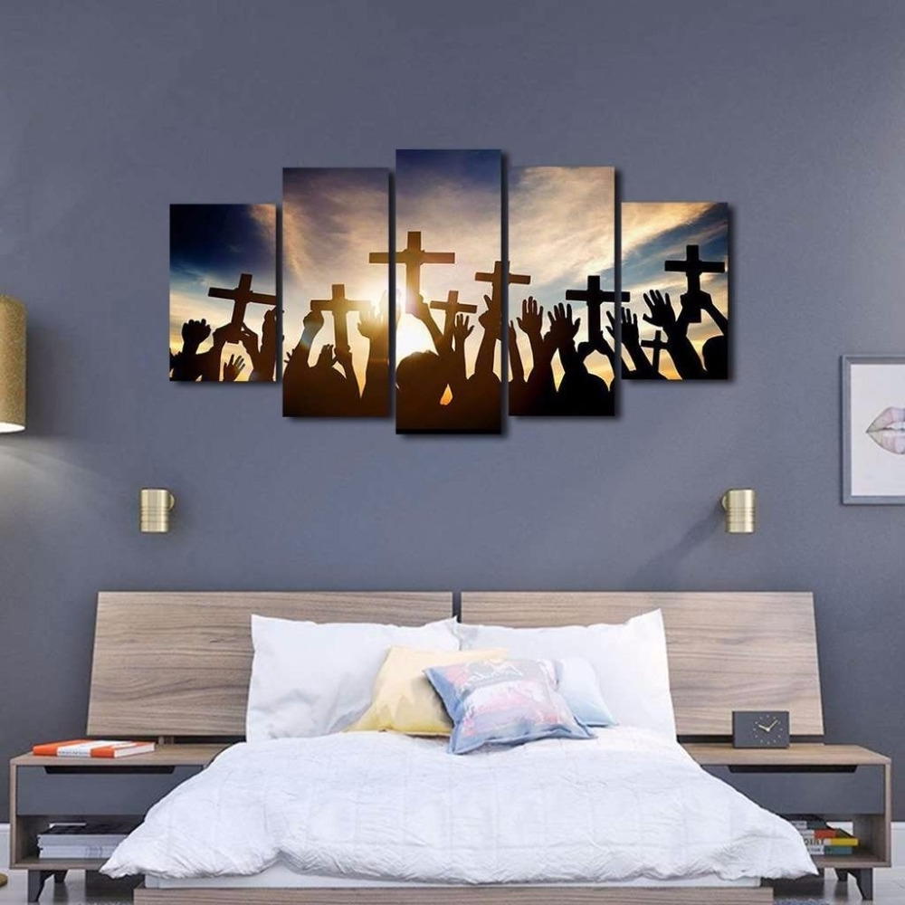 Multi Panel Wall Art In Latest 5 Panel Holding Cross During Sunrise Wall Art Multi Panel Canvas (View 10 of 15)