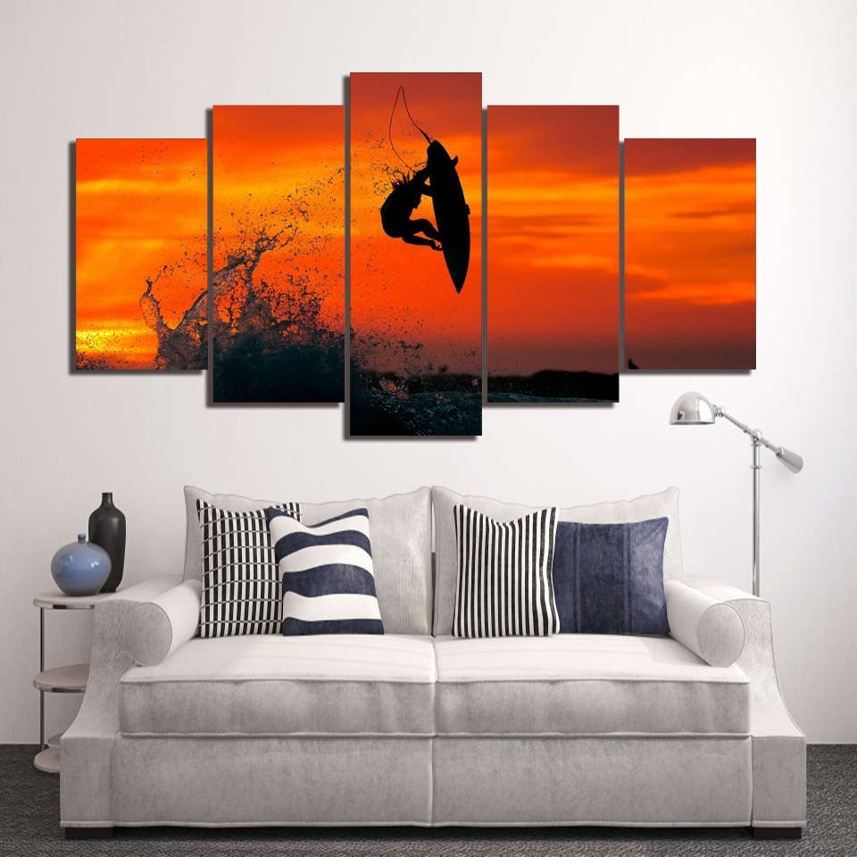 Multi Panel Wall Art Throughout Newest Surfer Trick Air 360 Wall Art Multi Panel Canvas – Mighty Paintings (View 13 of 15)