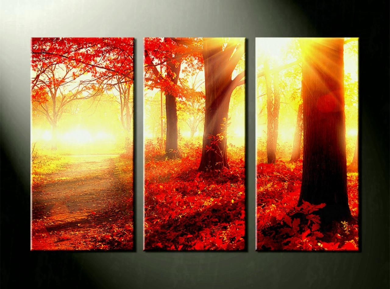 Multi Piece Wall Art With Widely Used Home Decor Piece Canvas Wall Art Forest Multi Panel Scenery Red (View 4 of 15)