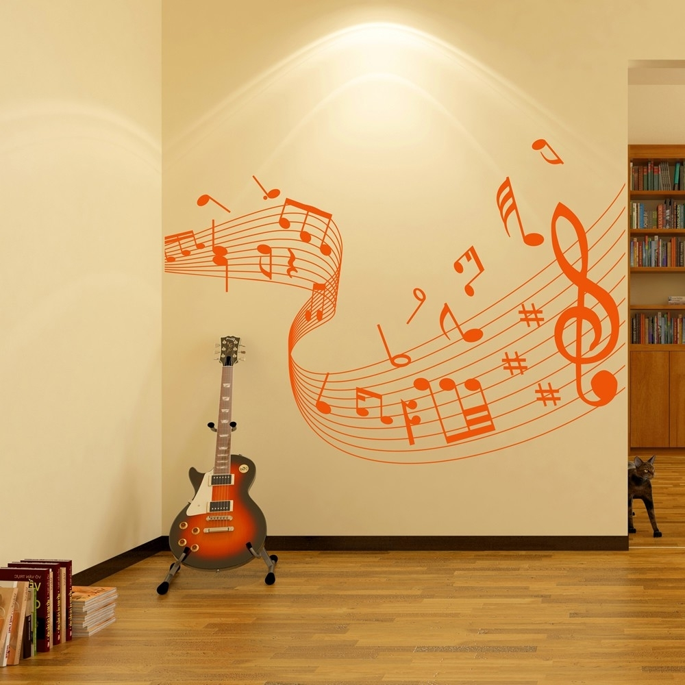 Music Wall Art With Most Up To Date Musical Note Score Wall Stickers Music Wall Art (View 11 of 15)