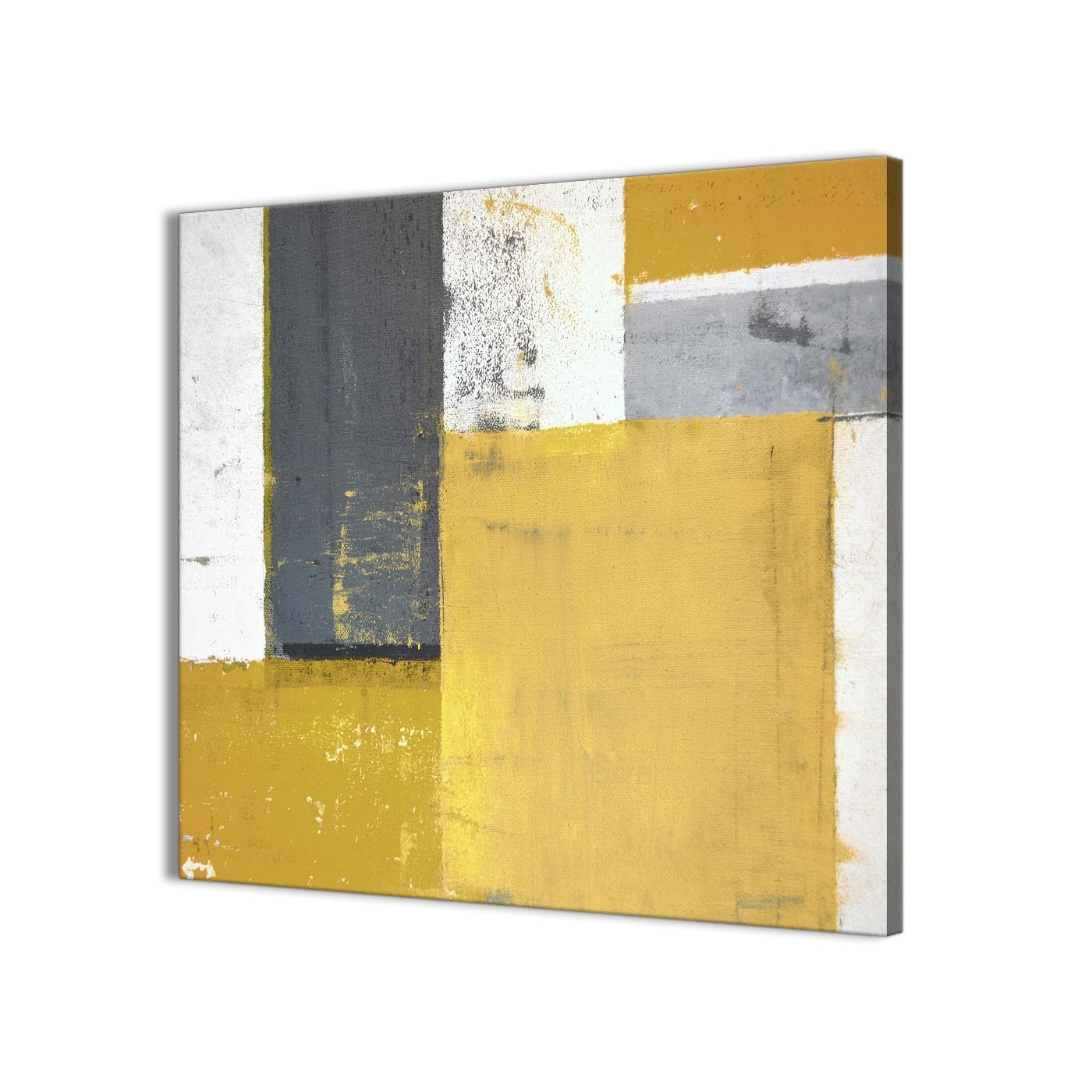 Mustard Yellow Grey Abstract Painting Canvas Wall Art Print – Modern With Regard To Well Liked Modern Painting Canvas Wall Art (View 12 of 15)