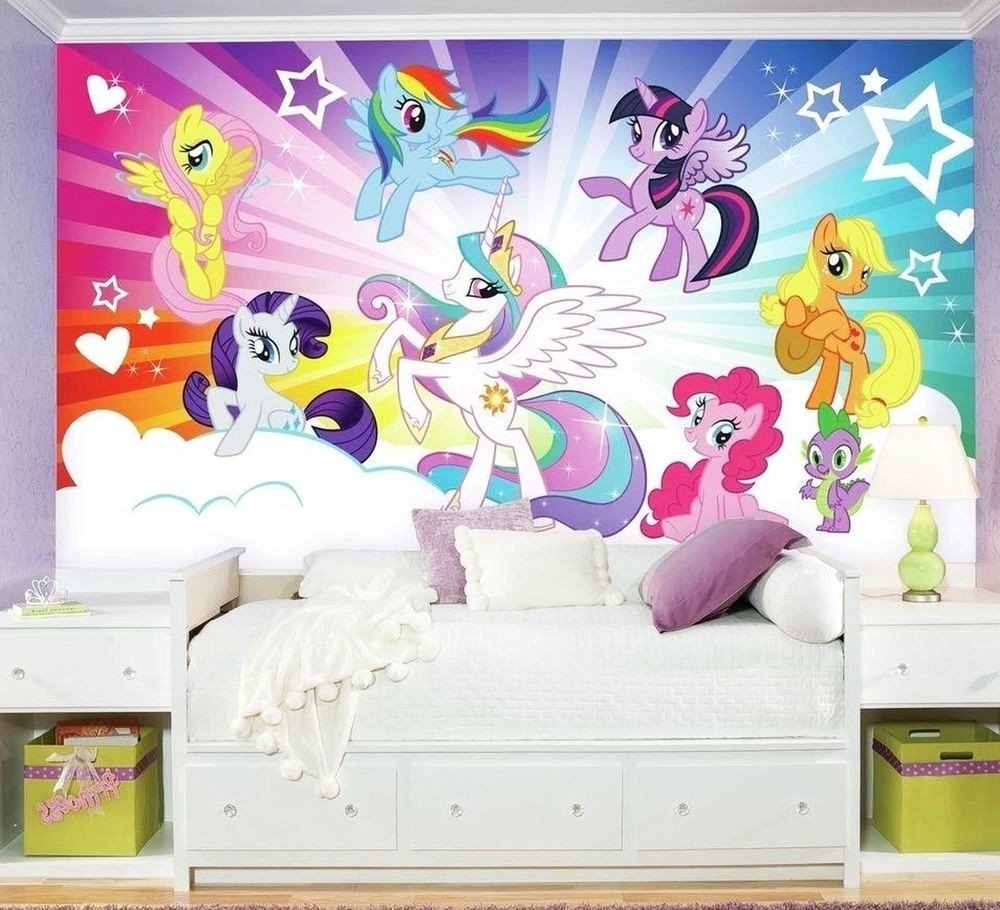 My Little Pony Cloud Burst Xl Chair Rail Wall Mural Wallpaper Design With Well Known My Little Pony Wall Art (View 8 of 15)