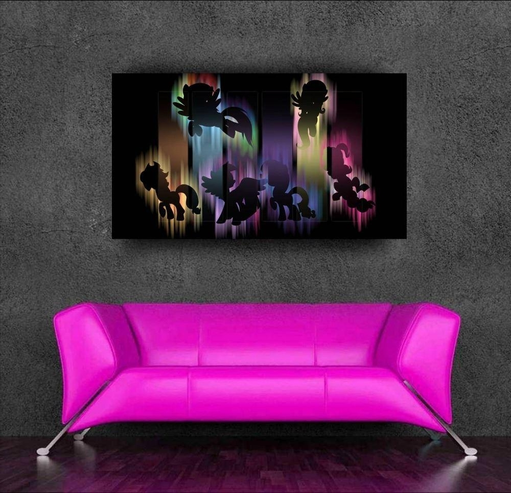 My Little Pony Wall Art Throughout Favorite Cartoon Poster My Little Pony 3D Wall Sticker For Kids Room Decor (View 5 of 15)