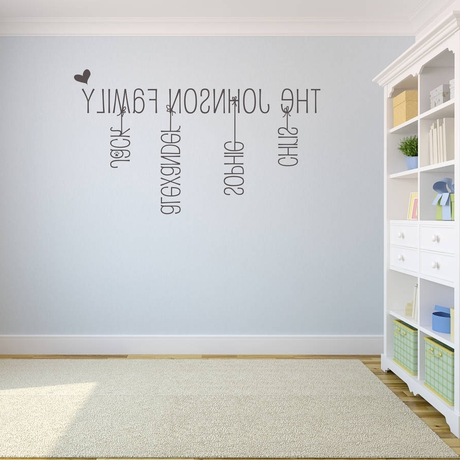 Name Wall Art With Best And Newest Majestic Last Name Wall Art Home Design Ideas Family Stickercom (View 2 of 15)