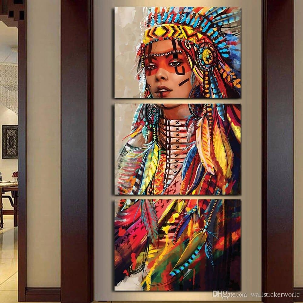 Native American Indian Painting 2018 Canvas Wall Art Canvas Painting Intended For Most Recent Native American Wall Art (View 11 of 15)