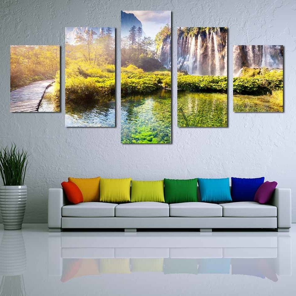Nature Wall Art For Most Recently Released 5 Panels Pictures Wall Decoration Printed Hd Images Unframed Canvas (View 7 of 15)
