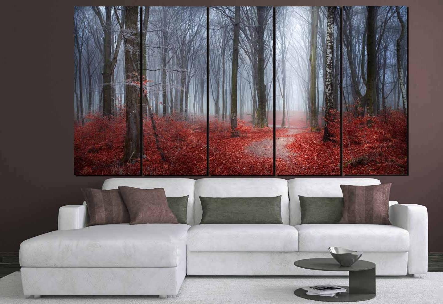 Nature Wall Art Regarding Latest Nature Wall Art,red Leaves Blue Mist Art,red Leaves Forest,nature (View 9 of 15)
