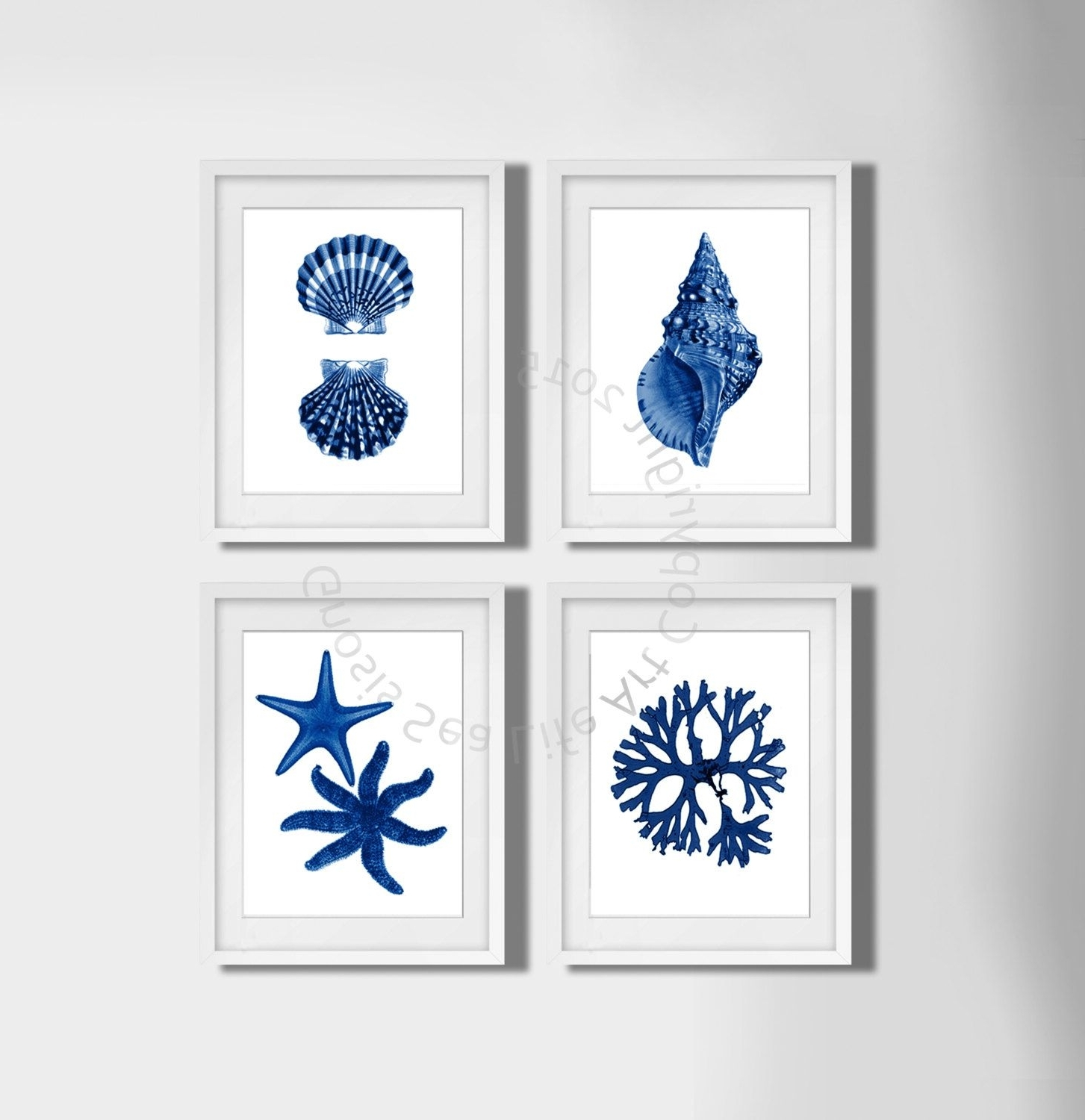 Navy Blue Wall Art For Well Known Coastal Wall Decor, Navy Blue Wall Art Set Of 4 Beach Decor (View 10 of 15)