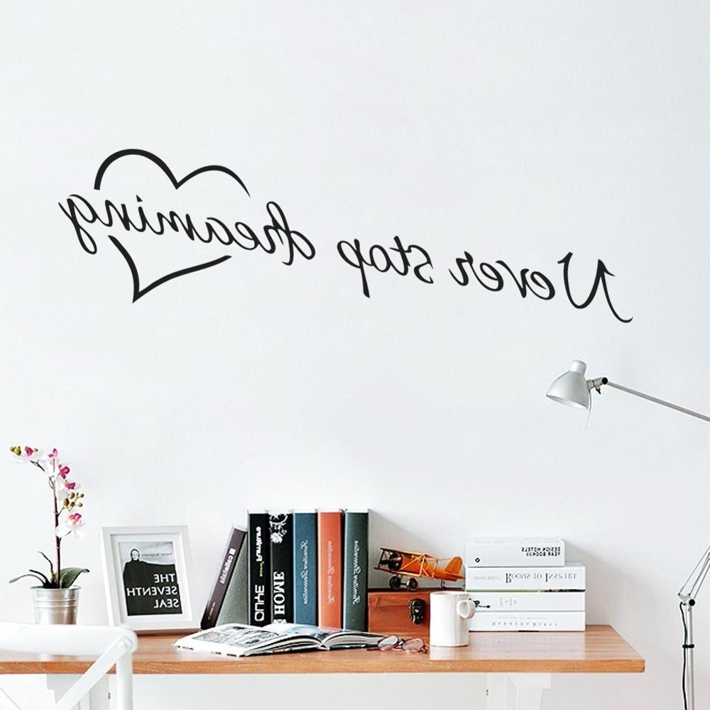 Never Stop Dreaming Inspirational Quotes Wall Art Bedroom Decorative In Most Popular Inspirational Quotes Wall Art (View 2 of 15)