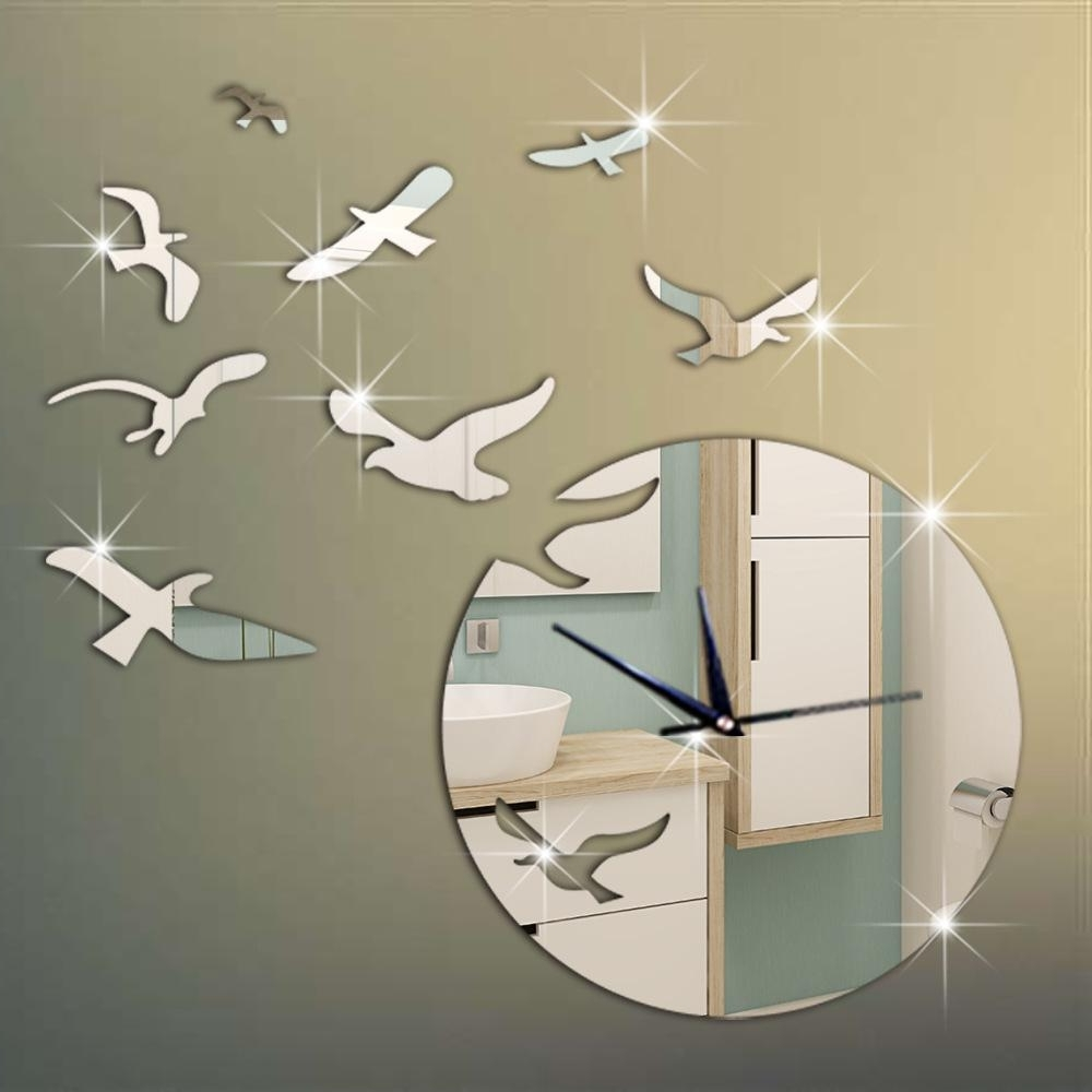 New Arrival 3D Mirror Bird Wall Stickers Clock For Home Wall Decor With Trendy Bird Wall Art (View 10 of 15)